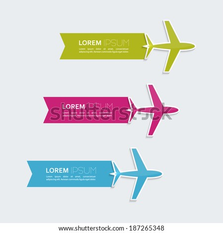 Multicolored paper stickers  with aircraft.  for info graphic, numbered banners,graphic or website layout vector, template for business reports.  - stock vector