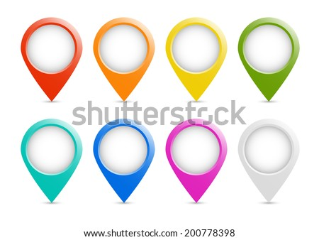 Multicolored place markers  - stock vector
