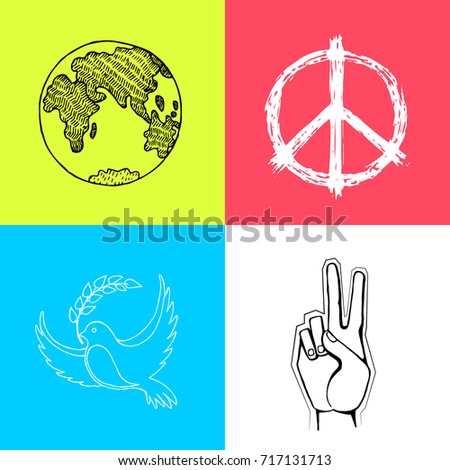 Multicolored Posters International Peace Day Vector Stock Vector