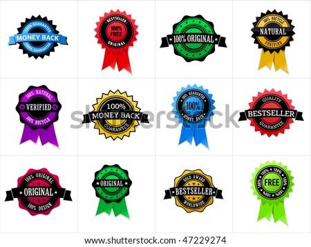 Multicolored set of label: money back, 100% free, original, natural, verified, bestseller, etc - stock vector