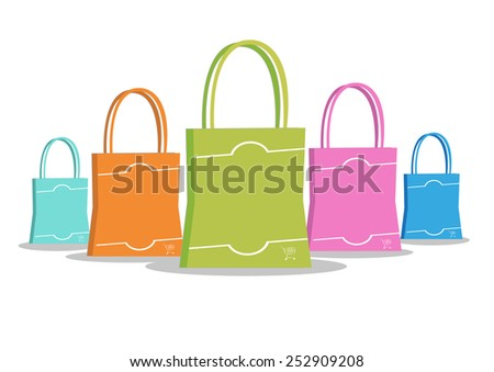 Multicolored Shopping Bags Perspective - stock vector