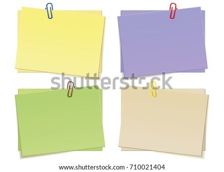 Multicolored stickers for notes isolated on white background. Eps 10 vector file.