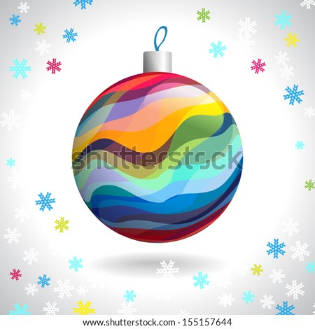 Multicolored Striped Christmas Ball on Background of Snowflakes, Vector Illustration EPS10 - stock vector