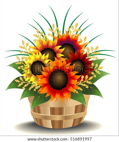Multicolored sunflower arrangement in a basket
