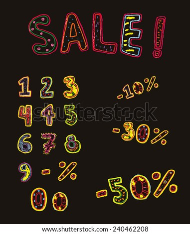 multicolored tag numbers and percentages for sales painted markers. objects isolated - stock vector