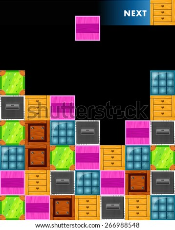 Multicolored tetris blocks. boxes - stock vector