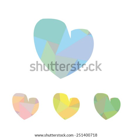 Multicolored textured hearts for Valentine's Day