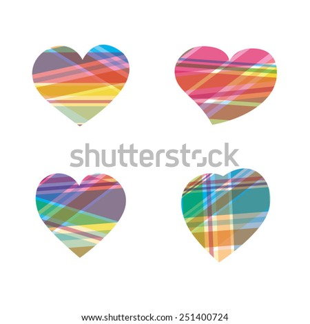 Multicolored textured hearts for Valentine's Day - stock vector