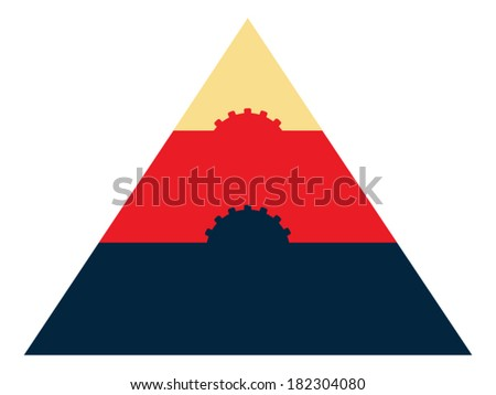 Multicolored triangle with cogs (gears) inside - stock vector