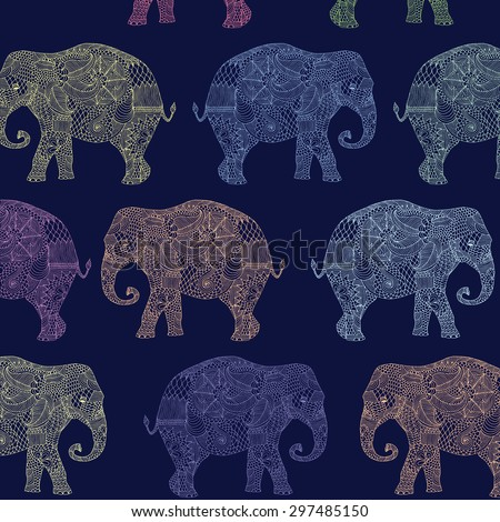 multicolored vector pattern with elephants on dark blue background - stock vector
