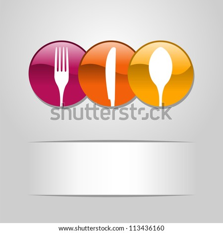 Multicolored web buttons food icon: spoon, fork and knife restaurant banner. Vector illustration layered for easy manipulation and custom coloring - stock vector
