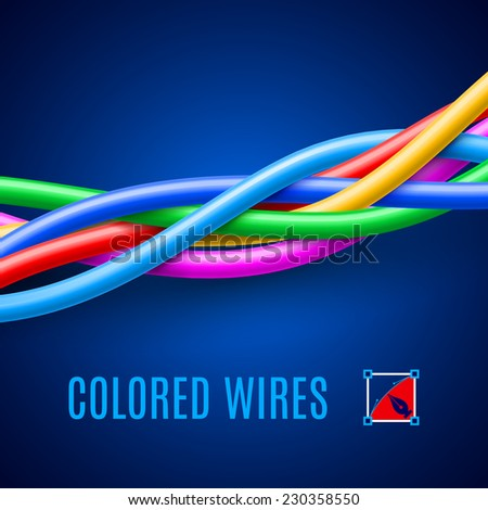 Multicolored wires on the blue background for design - stock vector