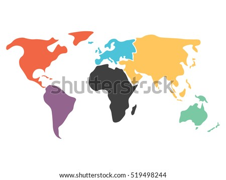 Blank simplified political map world different vectores en stock multicolored world map divided to six continents in different colors north america south america gumiabroncs Images