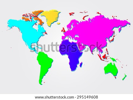 Multicolored world map. Vector illustration country - stock vector