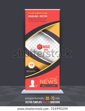 Multicolors Business Concept Roll-Up Banner Design, Advertising Vector Template - stock vector