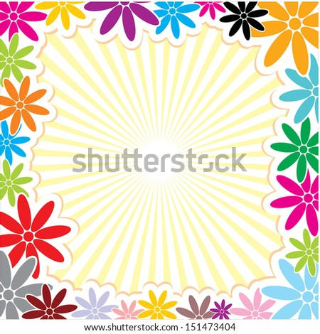 Multicolour Square Flower Frame Vector Background