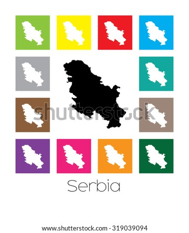 Multicoloured Map of the country of  Serbia
