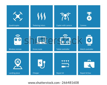 Multicopter drone icons on blue background. Vector illustration. - stock vector