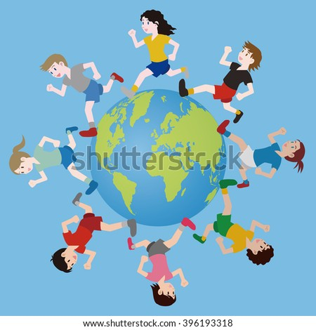 multicultural boys and girls running around the earth, track and field, football, soccer, worldwide friendship, vector - stock vector