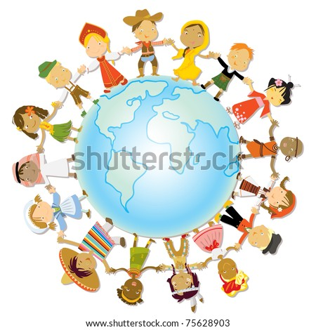multicultural children on planet earth, cultural diversity, traditional folk costumes - stock vector
