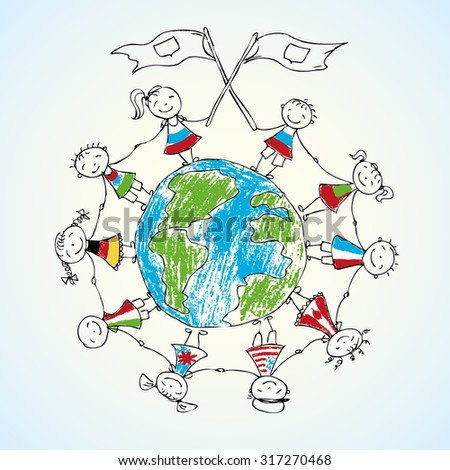 multicultural children on planet earth, vector illustration