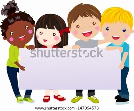 Multicultural kids holding blank banner - stock vector