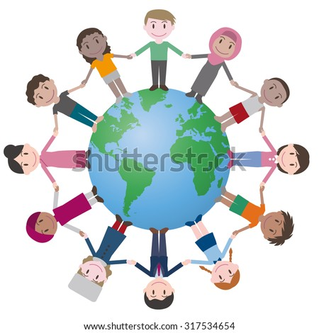 multicultural people around earth, holding hands. - stock vector
