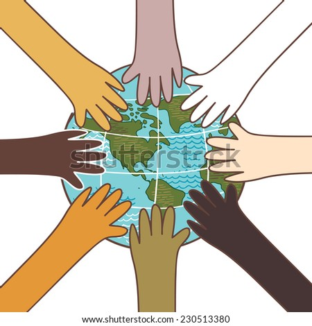 Multiculturalism, environment concept, hands with globe vector Illustration - stock vector