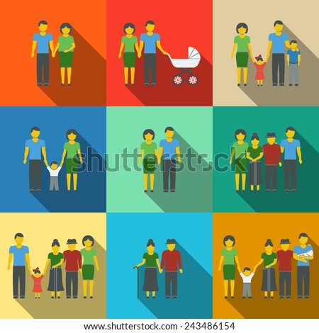 Multigenerational family flat long shadow icons set with all ages family members. Vector - stock vector