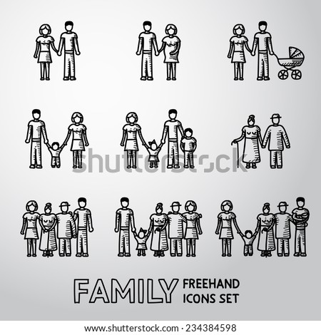 Multigenerational family freehand icons set with all ages family members. Vector - stock vector