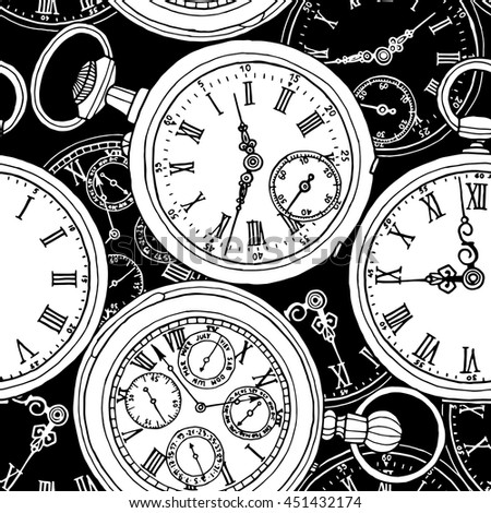 Multilayer seamless pattern. Different retro pocket watches on a black background. Vector illustration.