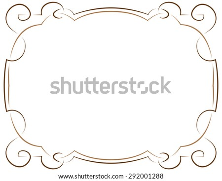 Multilayer vector elegant brown frame on a white background - stock vector
