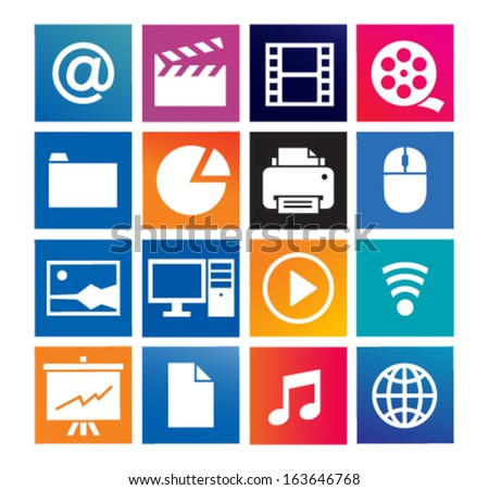 Multimedia and computer icons set on a color background