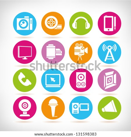 multimedia and electronic device icon set