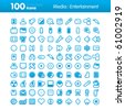 Multimedia and Entertainment Set of icons on white background in Adobe Illustrator EPS 8 format for multiple applications. - stock vector