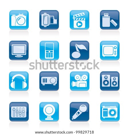 multimedia and technology icons - vector icon set - stock vector