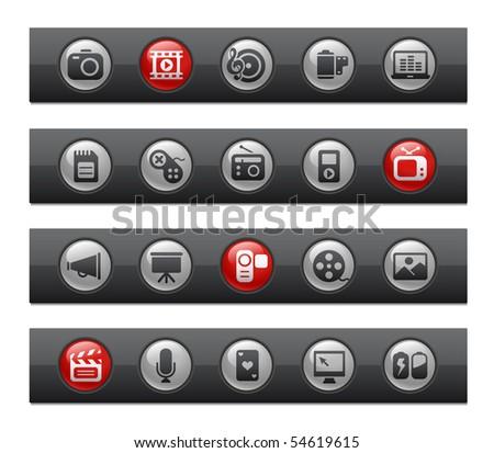 Multimedia // Button Bar Series - stock vector