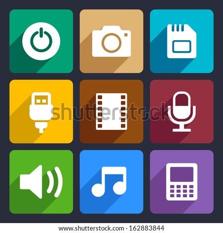 Multimedia flat icons set  2 - stock vector