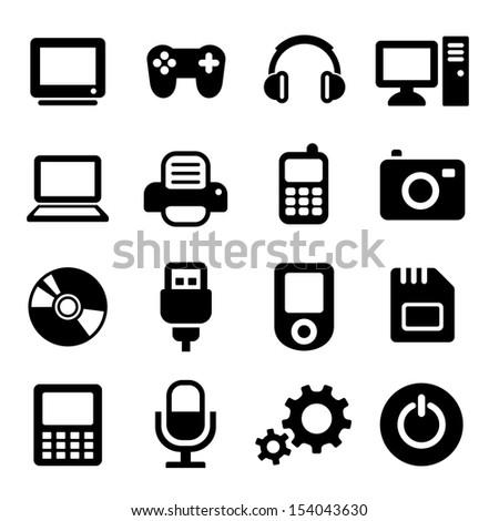 Multimedia gadget icons set - stock vector