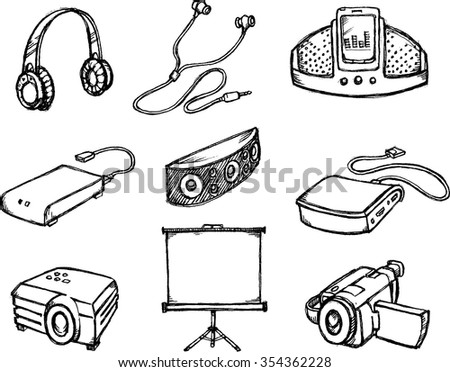 Multimedia Gadgets Sketch-Set of electronic collection, derived from my hand drawn sketch.