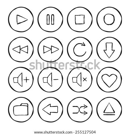 Multimedia hand drawn sketch icons set. Vector linear illustrations isolated on white  - stock vector