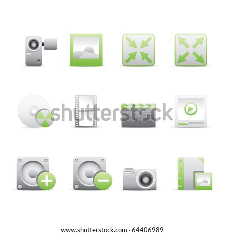 Multimedia icon set 5 - Bi Colored Series (Green and Gray).  Vector EPS 8 format, easy to edit. - stock vector