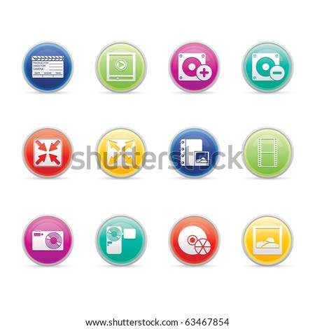 Multimedia icon set 5 - Colored Buttons Series.  Vector EPS 8 format, easy to edit. - stock vector