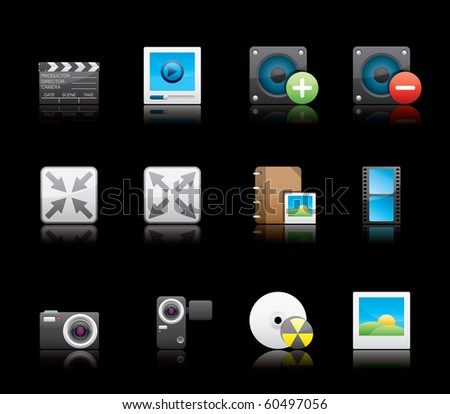 Multimedia icon set 5 - Glossy Series.  Vector EPS 8 format, easy to edit.