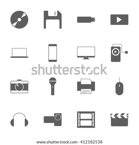 Multimedia icon set isolated on white background