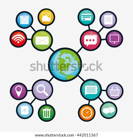 Multimedia icon set. Social media design. vector graphic