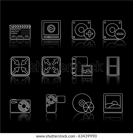 Multimedia icon set 5 - Strokes Black Series.  Vector EPS 8 format, easy to edit. - stock vector