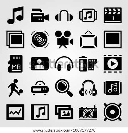 Multimedia icon set vector. man, photo, movie player and memory