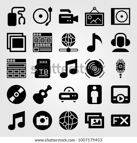 Multimedia icon set vector. movie player, turntable, browser and memory