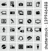Multimedia icons - stock photo